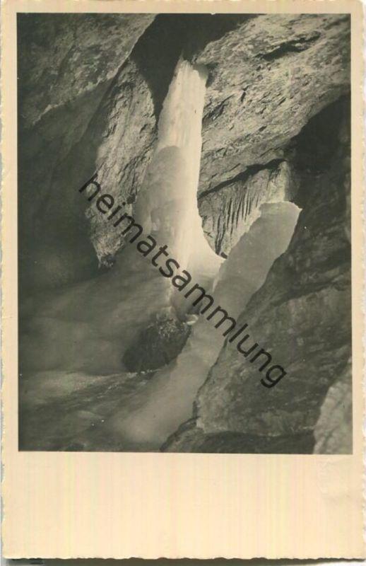 Eisriesenwelthöhle bei Salzburg - Gefrorener Wasserfall - Photo Gustav Abel - Verlag Eisriesenwelt GmbH 1939