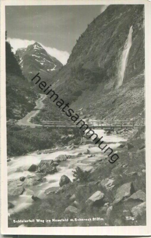 Schleierfall - Weg ins Nassfeld mit Schareck - Foto-Ansichtskarte - Verlag E. Wolkersdorfer Hofgastein 1940