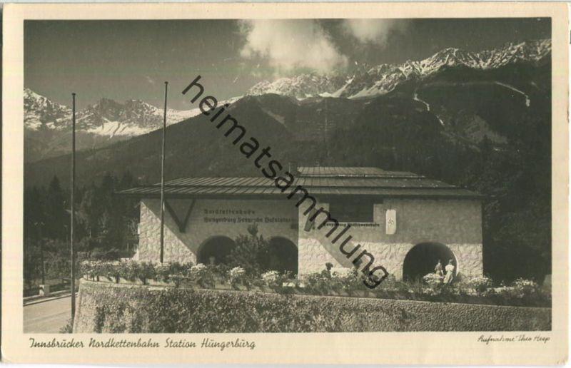 Innsbrucker Nordkettenbahn Station Hungerburg - Foto-Ansichtskarte - Verlag Julius Simonsen Oldenburg 40er Jahre