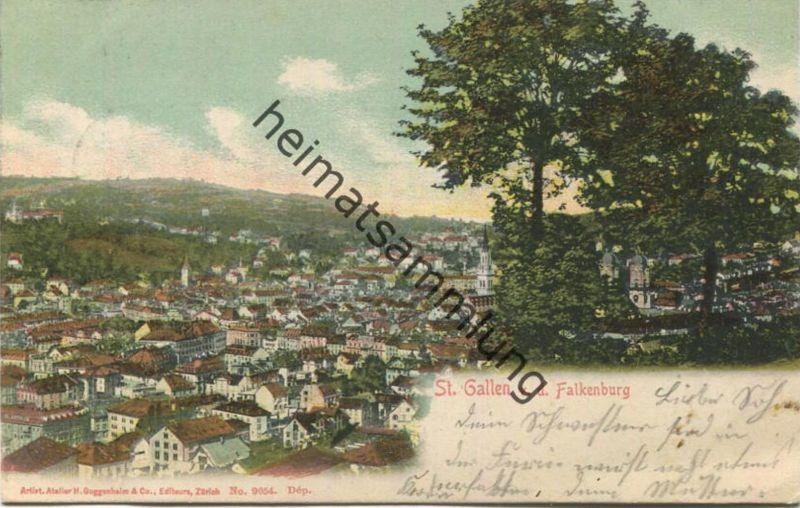 St. Gallen von der Falkenburg - Editeurs H. Guggenheim & Co. Zürich gel. 1903