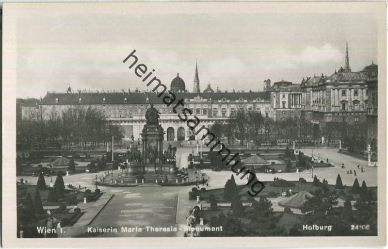 Wien - Kaiserin Maria Theresia Monument - Foto-Ansichtskarte - Verlag P. Ledermann Wien 1940