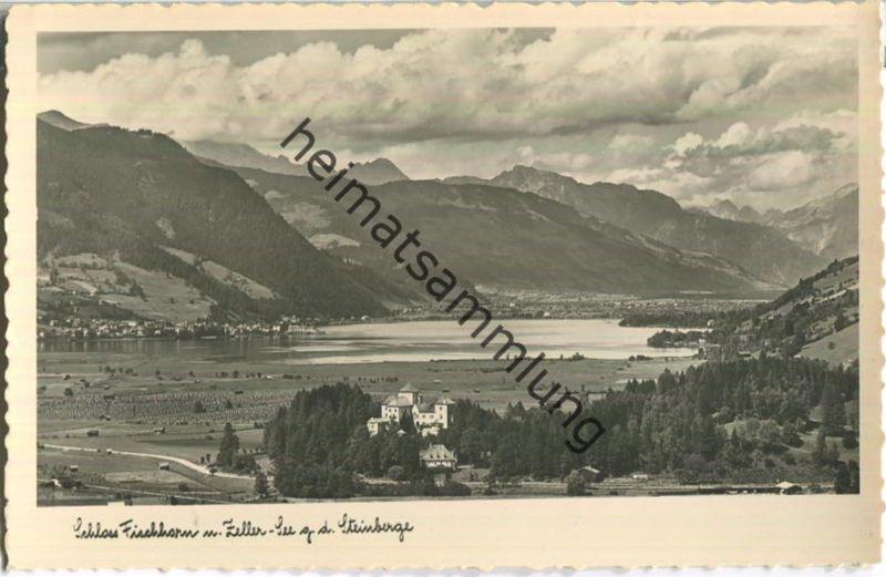 Schloss Fischhorn und Zeller-See gegen die Steinberge - Foto-Ansichtskarte - Verlag C. Jurischek Salzburg 40er Jahre