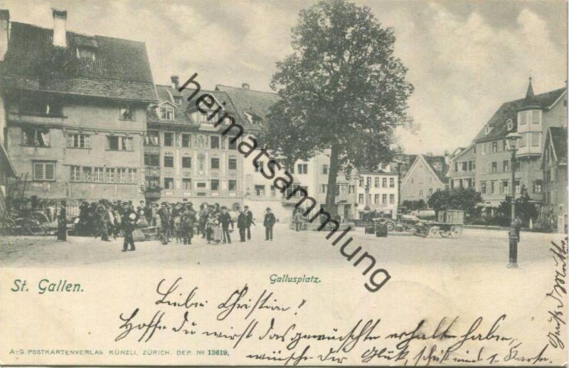 St. Gallen - Gallusplatz - Postkartenverlag Künzli Zürich gel. 1902