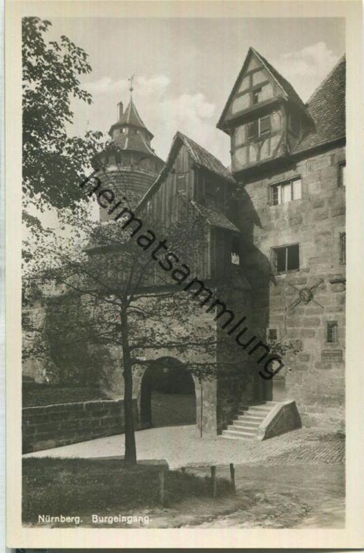 Nürnberg - Burgeingang - Foto-Ansichtskarte - S. Soldan 'sche Verlagsbuchhandlung (A. Zemsch) Nürnberg 30er Jahre