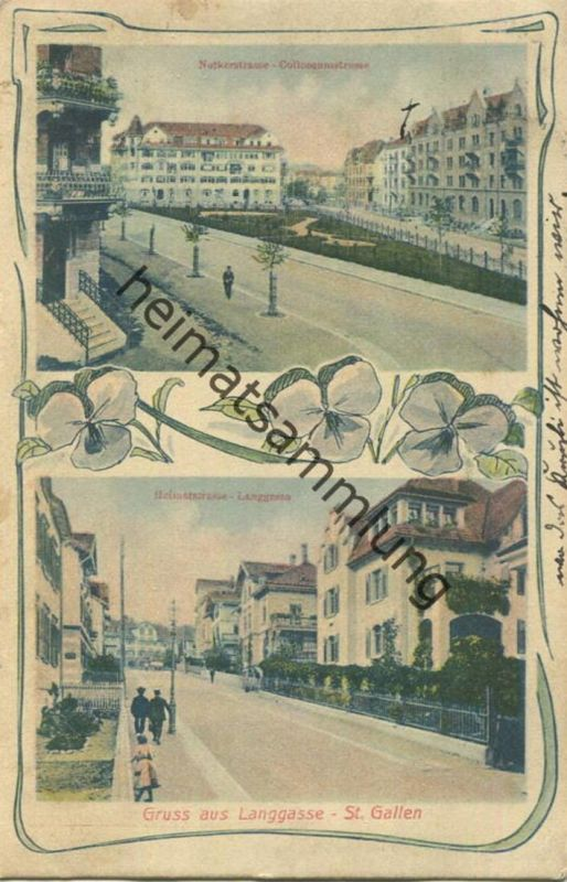 St. Gallen - Notkerstrasse und Colloseumstrasse - Langgasse - Verlag Angehrn-Hauser Langgasse gel. 1911