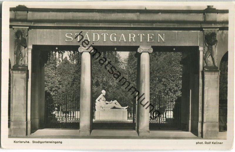 Karlsruhe - Stadtgarten Eingang - Foto-Ansichtskarte - Verlag J. Velten Karlsruhe - Aufnahme Rolf Kellner