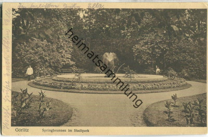 Görlitz - Springbrunnen im Stadtpark - Verlag Neue Postkartenquelle Görlitz
