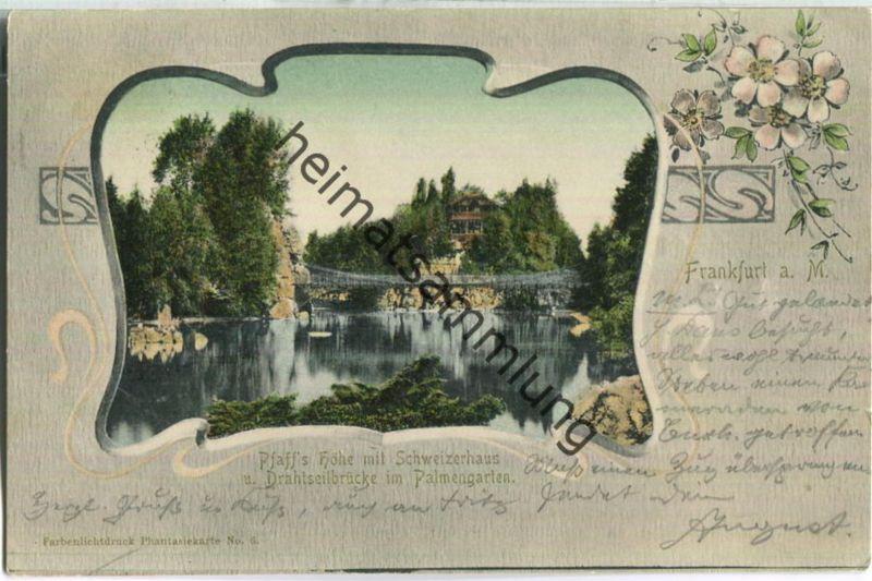 Frankfurt - Pfaff 's Höhe mit Schweizerhaus und Drahtseilbrücke im Palmengarten - Jugendstil