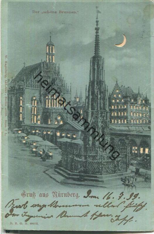 Gruss aus Nürnberg - Der schöne Brunnen - Verlag W. Hagelberg Berlin - Durchscheinkarte