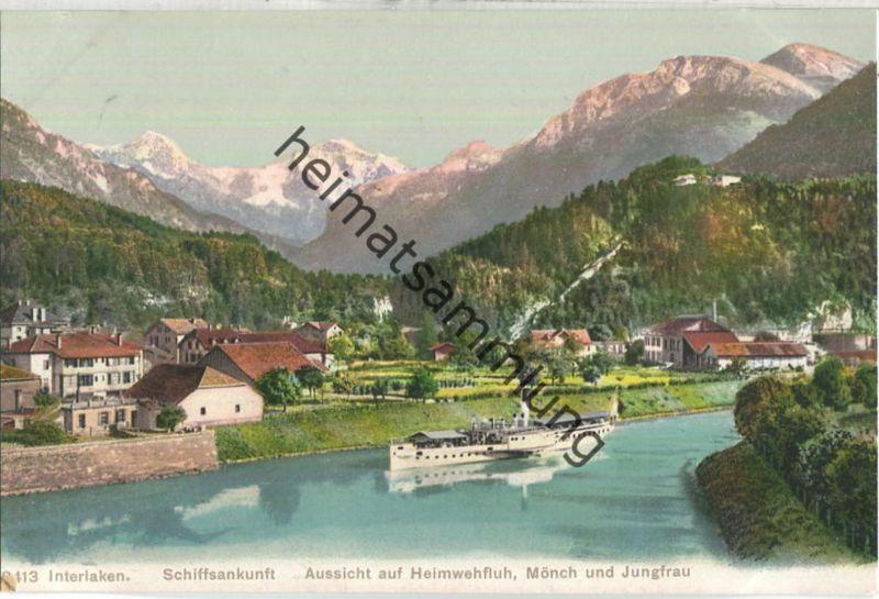 Interlaken - Fahrgastschiff - Aussicht auf Heimwehfluh - Mönch und Jungfrau - Edition Phototypie Co. Neuchatel ca. 1910