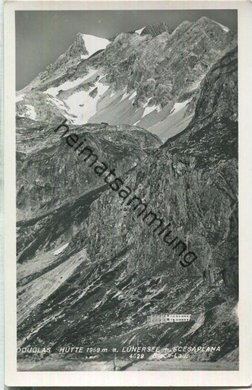 Douglas-Hütte am Lünersee mit Scesaplana - Foto-Ansichtskarte - Verlag Photo Risch-Lau Bregenz