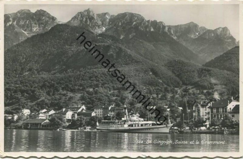 St. Gingolph - Ausflugsdampfer Simplon - Foto-AK - Edition Perrochet Lausanne gel. 1945