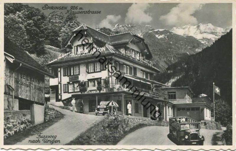 Spiringen - Gasthaus St. Anton - Besitzer Familie Gisler-Müller - Foto-AK - Verlag Eduard von Matt Altdorf gel. 1955