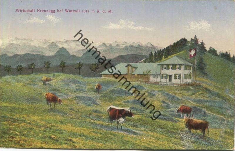 Wattwil - Wirtschaft Kreuzegg - Heinrich Paschle - Verlag Andr. Hane Rorschach gel. 1922