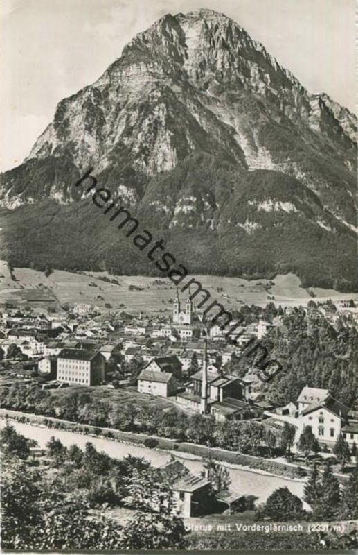 Glarus mit Vorderglärnisch - Foto-AK - Verlag Photoglob-Wehrli Zürich gel. 1954