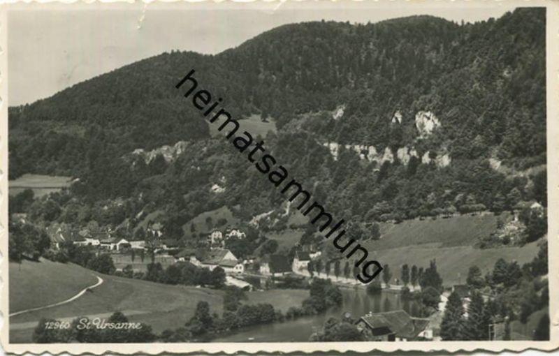St. Ursanne - Foto-AK - Verlag Perrochet Lausanne - Stempel: Zeltlager des Guttempler-Jugendwerkes gel. 1954