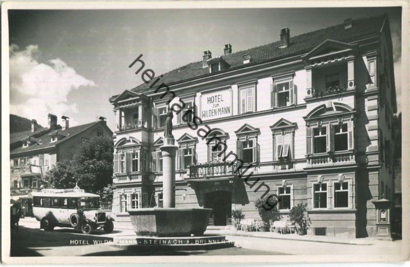 Steinach am Brenner - Hotel zum Wilden Mann - Bus - Foto-Ansichtskarte 30er Jahre