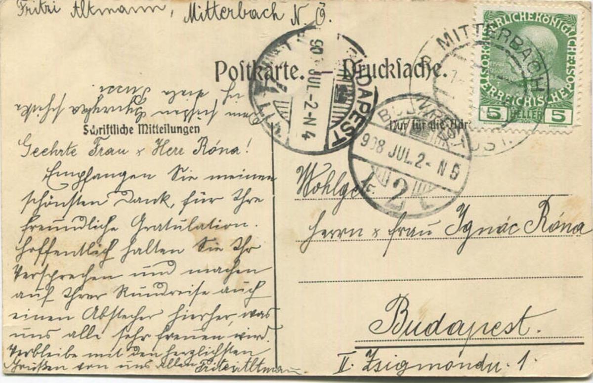Mitterbach - Verlag C. Weingartshofer Mödling gel. 1908 1