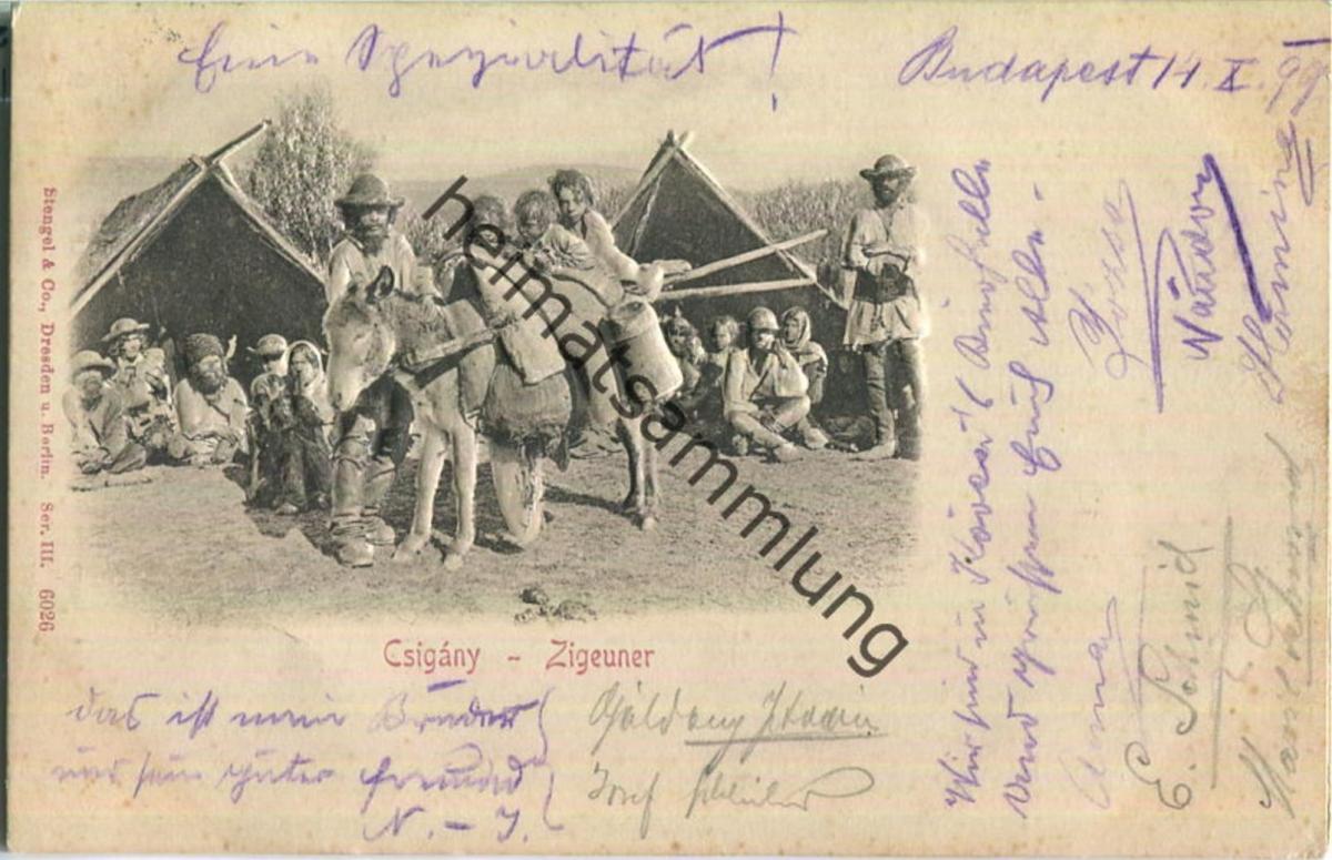 Csigany - Zigeuner - Esel - Reliefkarte - Verlag Stengel & Co Berlin
