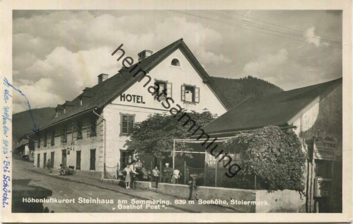 Steinhaus am Semmering - Gasthof Post - Foto-AK - Verlag P. Ledermann Wien - gel. 1950