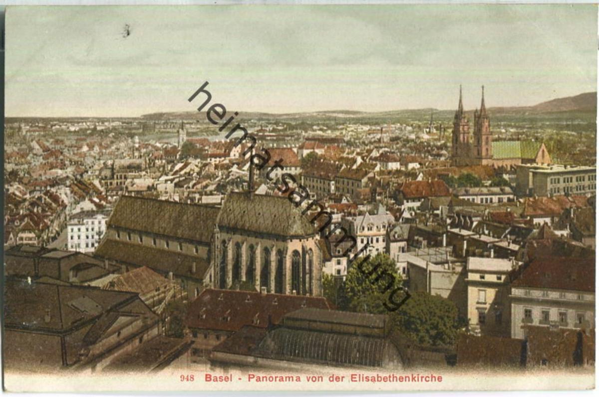 Basel - Panorama von der Elisabethenkirche - Edition Photoglob Co. Zürich