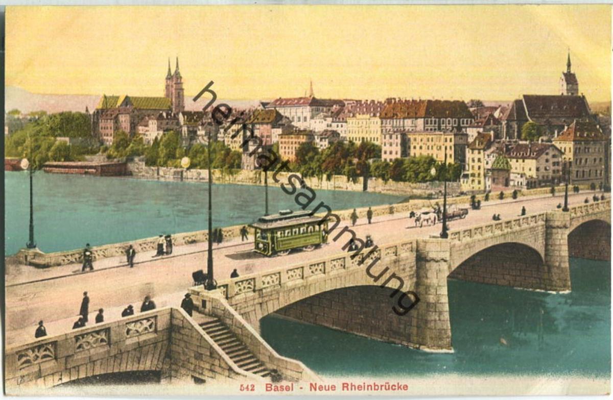Basel - neue Rheinbrücke - Strassenbahn - Edition Photoglob Co. Zürich ca. 1905