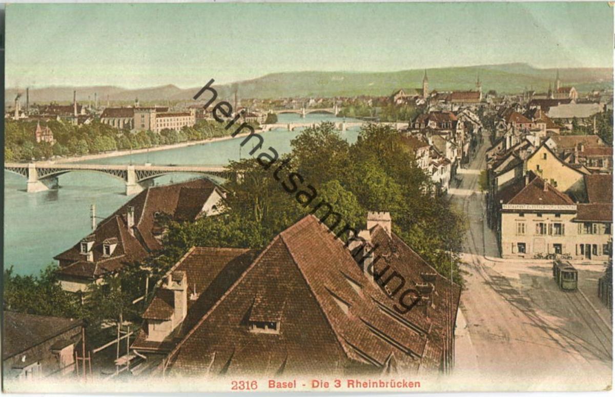 Basel - die drei Rheinbrücken - Strassenbahn - Edition Photoglob Co. Zürich ca. 1905