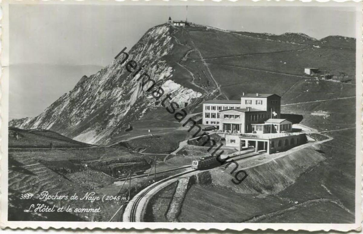 Rochers de Naye - L'Hotel de le sommet - Foto-AK - Edition Perrochet Lausanne - gel. 1955