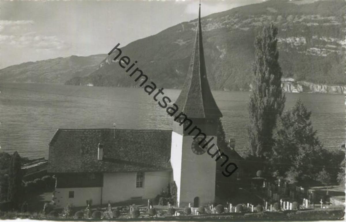 Leissigen - Kirche - Foto-AK - Verlag Arthur Baur Oberhofen gel. 1958