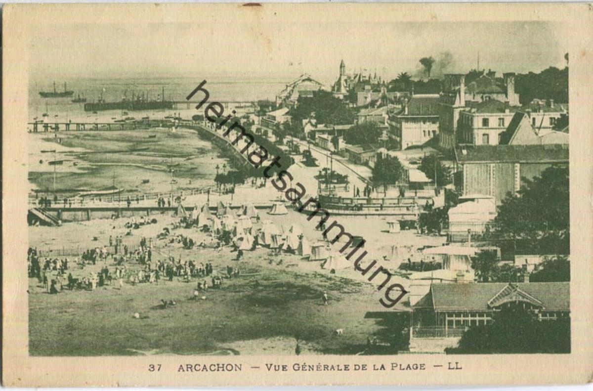 Arcachon - Vue generale de la Plage - Edition Levy et Neurdein Reunis Paris