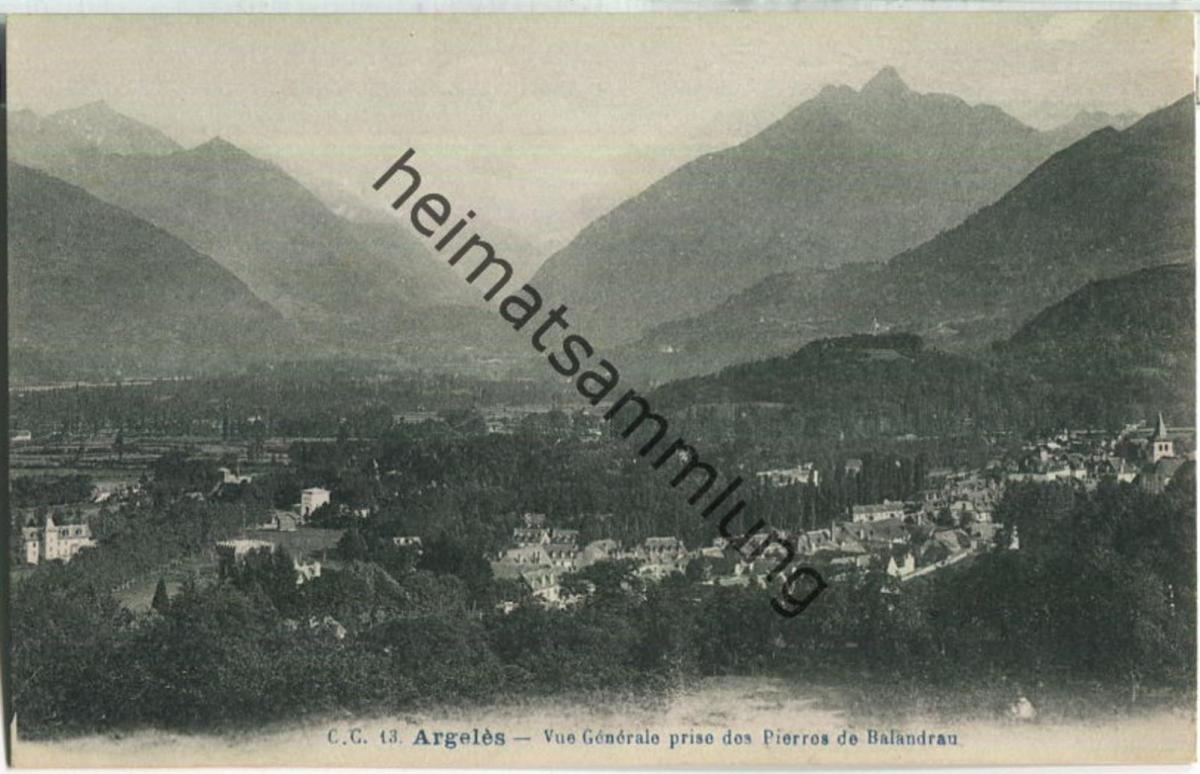 Argeles - Vue Genereale prise des Pierres de Balandrau - Carrache editeur Pau