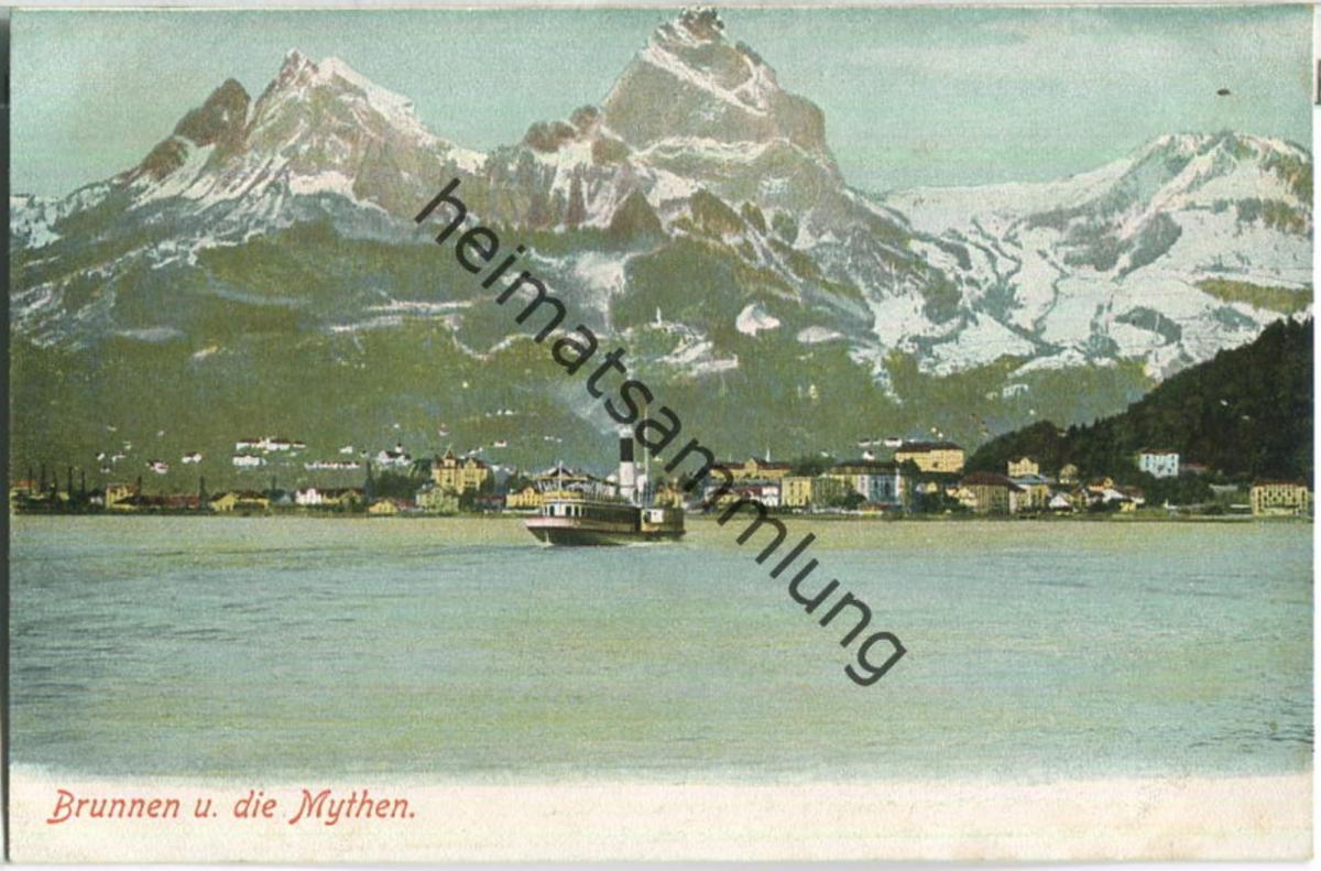 Brunnen und die Mythen - Verlag Gebr. Wehrli Kilchberg Zürich ca. 1910