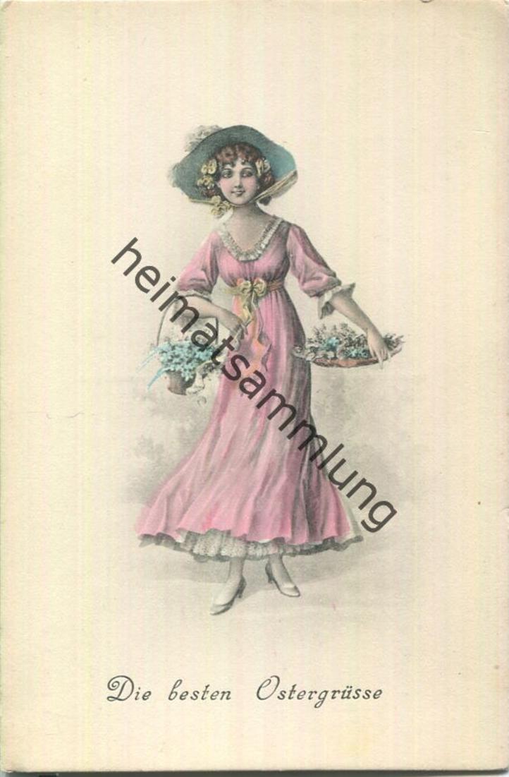 Die besten Ostergrüsse - Frau mit Blumenkorb