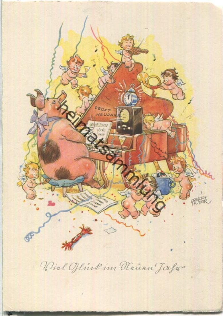 Viel Glück im Neuen Jahr - signiert Erich Huber - Verlag Carl Werner Reichenbach
