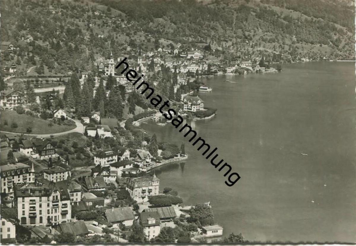 Weggis - Fliegeraufnahme - Foto-AK Grossformat - Verlag Otto Wyrsch Bern gel. 1952