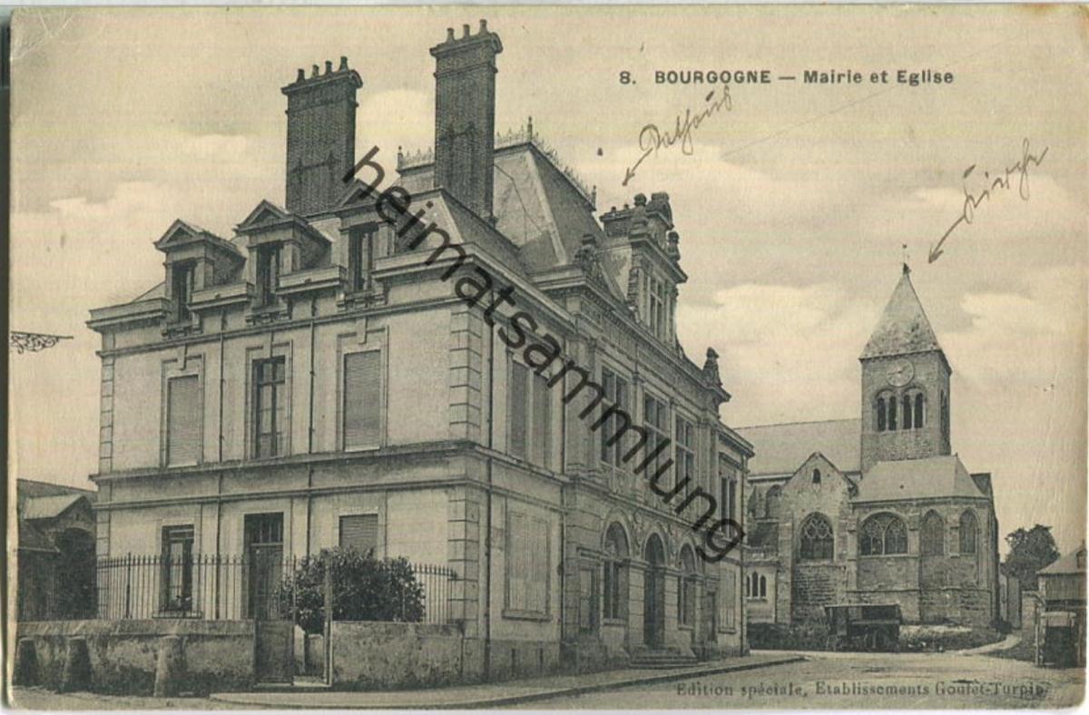 Bourgogne - Mairie et Eglise - Feldpost
