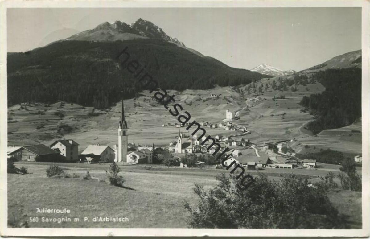 Savognin - Foto-AK - Verlag Moliet Lenzerheide gel. 1937