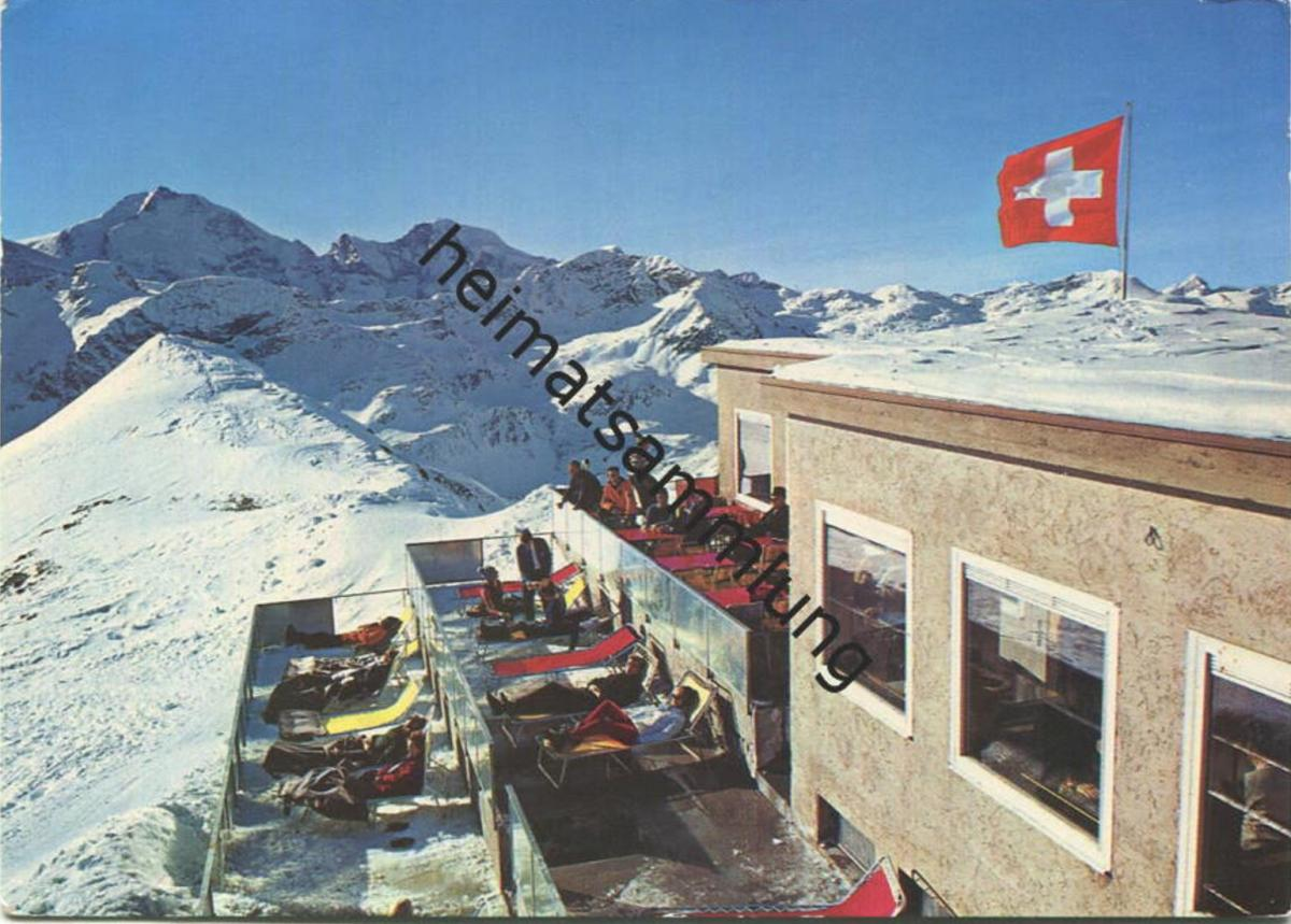 Piz Lagalp - Sonnenterrasse am Panorama-Bergrestaurant - AK Grossformat - Verlag C. Filli Celerina gel. 1968