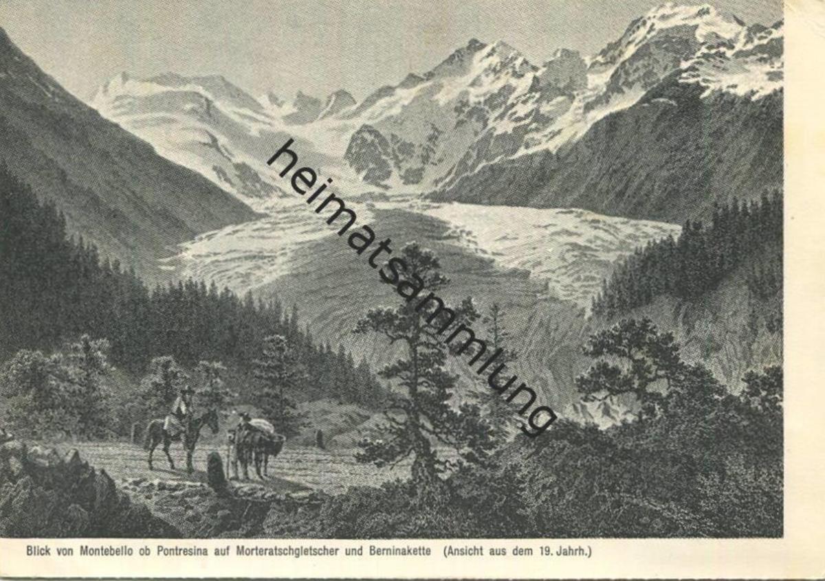 Blick auf den Morteratsch Gletscher (Ansicht aus den 19. Jahrhundert) - AK-Grossformat - Einladung zur Tagung der Alt-Zu