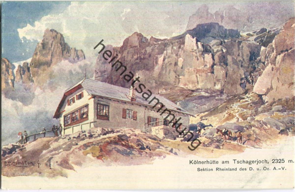 Tschagerjoch - Kölnerhütte - Edward Theodore Compton - Verlag A. Edlinger Innsbruck