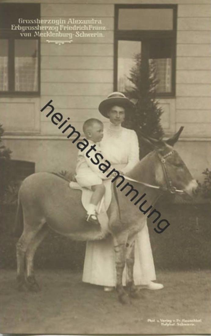 Grossherzogin Alexandra - Erbgroßherzog Friedrich Franz von Mecklenburg-Schwerin - Verlag Fritz Heuschkel Schwerin