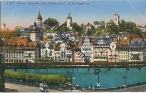 Luzern - Kapellbrücke Rathausquai und Museggtürme - Edition Photoglob Zürich