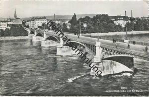 Basel - Johanniterbrücke mit Klein Basel - Foto-AK - Verlag Photoglob-Wehrli Zürich gel. 1957