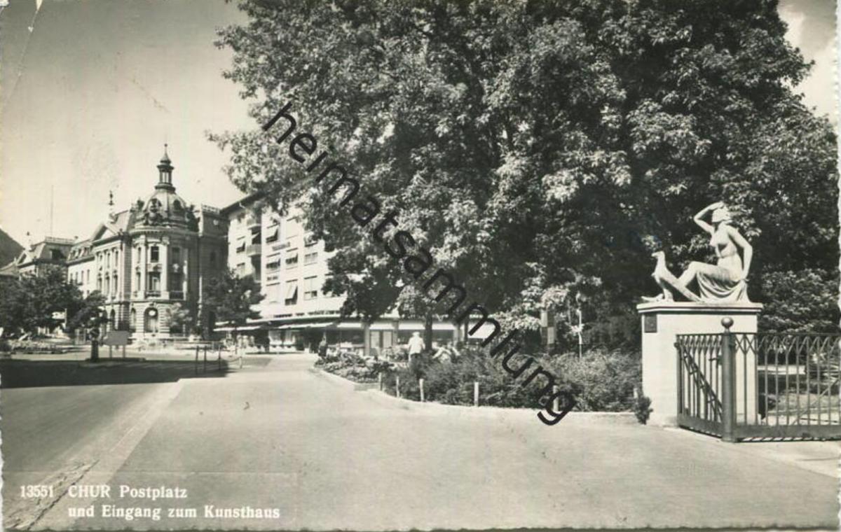 Chur - Postplatz und Eingang zum Kunsthaus - Foto-AK - Verlag Foto-Gross St. Gallen - gel. 1959 0