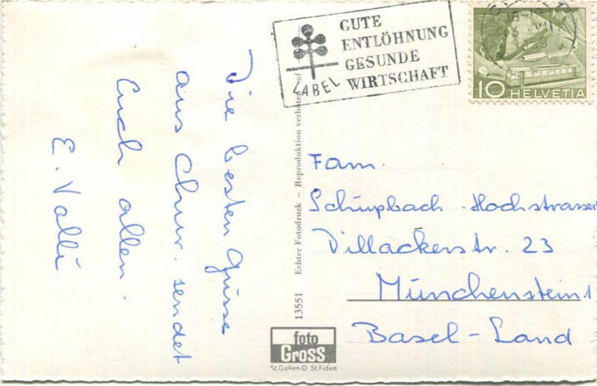 Chur - Postplatz und Eingang zum Kunsthaus - Foto-AK - Verlag Foto-Gross St. Gallen - gel. 1959 1