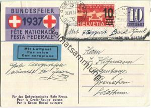 Bundesfeier-Postkarte 1937 - 10 Cts - Zugunsten des schweizerischen Roten Kreuzes - Sanitätssoldat mit Hund - Flugpost
