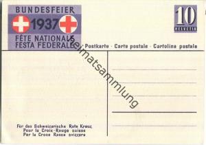 Bundesfeier-Postkarte 1937 - 10 Cts - Zugunsten des schweizerischen Roten Kreuzes - Sanitätssoldat mit Hund