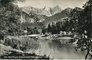 Bad Ragaz - Giessenpark- See mit Falknis - Foto-AK - Verlag Foto-Gross St. Gallen gel. 1951