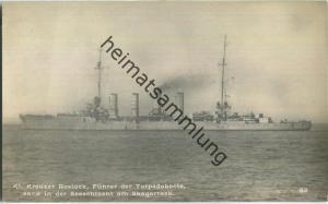 Kleiner Kreuzer Rostock - Führer der Torpedoboote - Foto-AK - Verlag F. Finke Wilhelmshaven