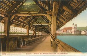 Luzern - Inneres der Kapellbrücke mit Jesuitenkirche - Edition Photoglob Co. Zürich ca. 1905